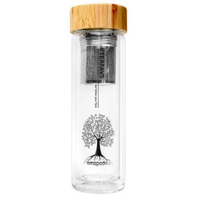 amapodo Teeflasche mit Sieb und Bambusdeckel