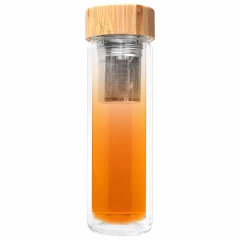 Glasflasche mit Sieb und Bambus Deckel