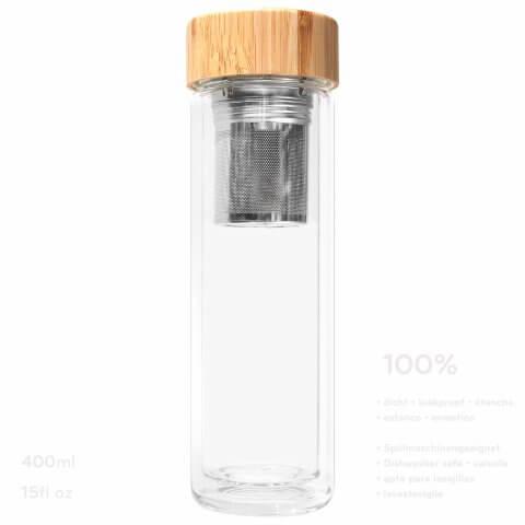 Infuser Teeflasche mit Sieb und Bambusdeckel, dicht
