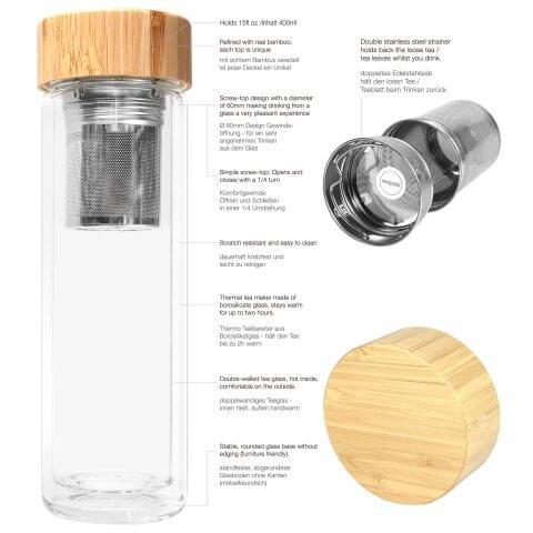 Infuser Teeflasche mit Sieb und Bambusdeckel, Beschreibung