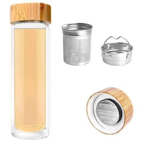 Infuser Teeflasche mit Sieb und Bambusdeckel, Teefilter, Teesieb
