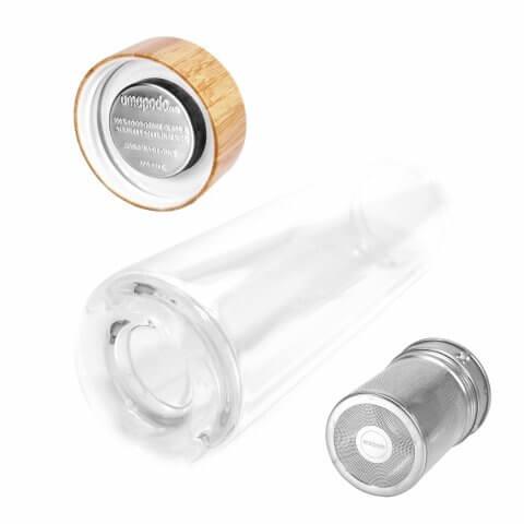 Infuser Teeflasche mit Teesieb und Bambusdeckel, Teefilter, Teesieb, Rückseite, bpa-frei
