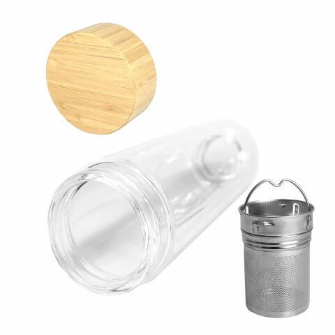 Infuser Teeflasche mit Teesieb und Bambusdeckel, Vorderseite