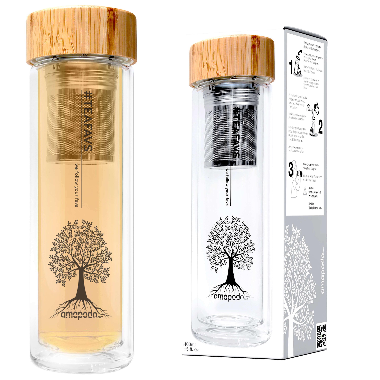 amapodo teekanne glas 400ml doppelwandig mit edelstahl tee sieb bambus deckel ebay. Black Bedroom Furniture Sets. Home Design Ideas