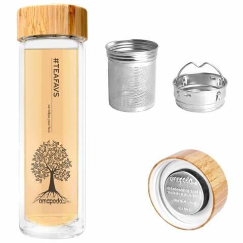 amapodo Teeflasche mit Sieb und Bambusdeckel, Teefilter, Teesieb