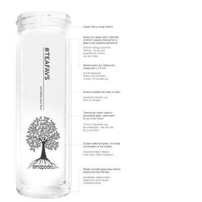 amapodo Teeflasche ohne Sieb, ohne Deckel, Beschreibung