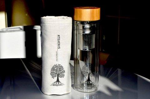 amapodo #teafavs Schutzhuelle für Teeflasche to go, Farbe natur