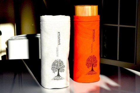 amapodo #teafavs Schutzhuelle für Teeflasche to go, nature, orange, Teebereiter