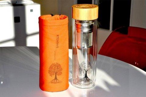 amapodo #teafavs Schutzhuelle für Teeflasche to go, Farbe orange