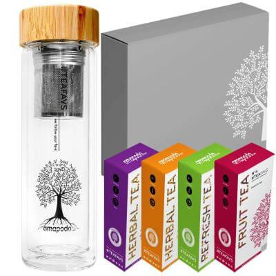 amapodo Teeflasche Tee Geschenk Set mit edler Geschenk-Verpackung