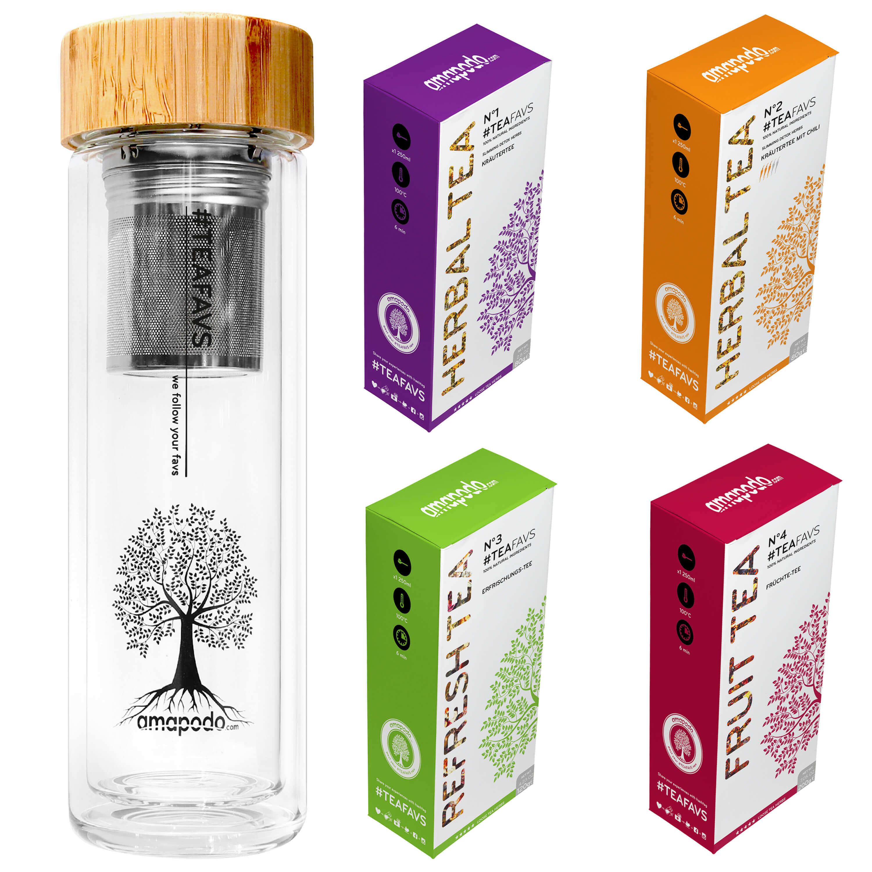 Teeflasche Tee Geschenk Set Aus Glas Und Bambus Für Jedermann