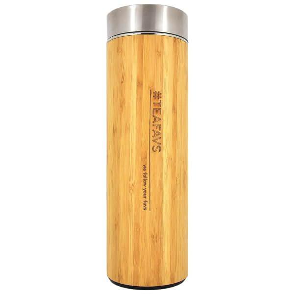 amapodo Thermobecher 500ml mit Sieb und Deckel aus Bambus und Edelstahl, bpa-frei