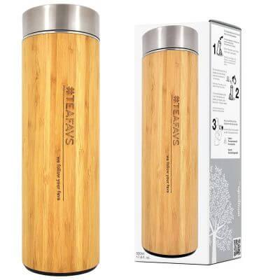 amapodo Thermobecher 500ml mit Sieb und Deckel aus Bambus und Edelstahl, bpa-frei, Verpackung