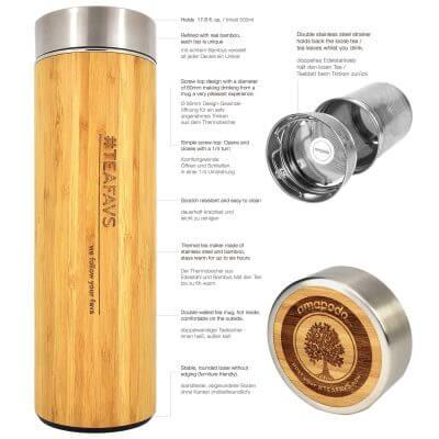 amapodo Thermobecher 500ml mit Sieb und Deckel aus Bambus und Edelstahl, bpa-frei, Beschreibung