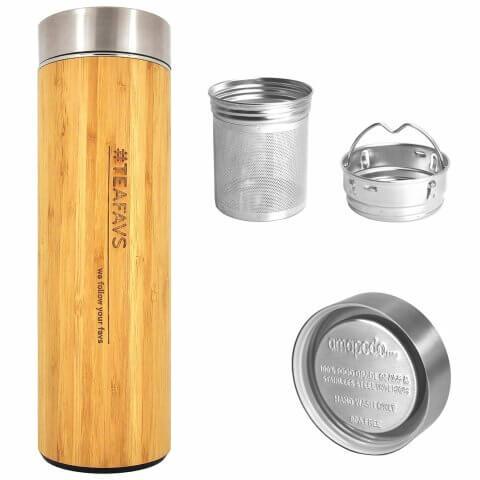 amapodo Thermobecher 500ml mit Sieb und Deckel aus Bambus und Edelstahl, bpa-frei, Teefilter, Teesieb