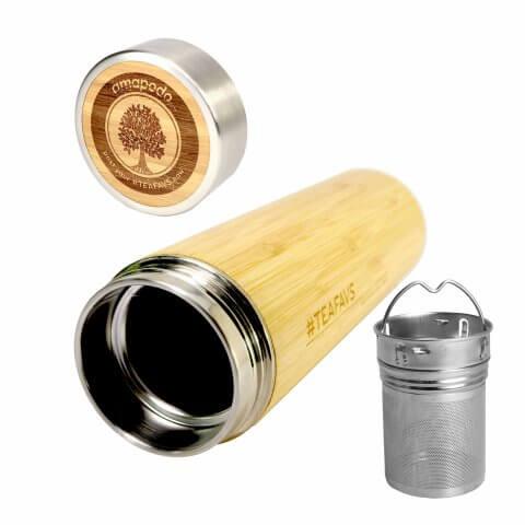 amapodo Thermobecher 500ml mit Sieb und Deckel aus Bambus und Edelstahl, bpa-frei, Vorderseite