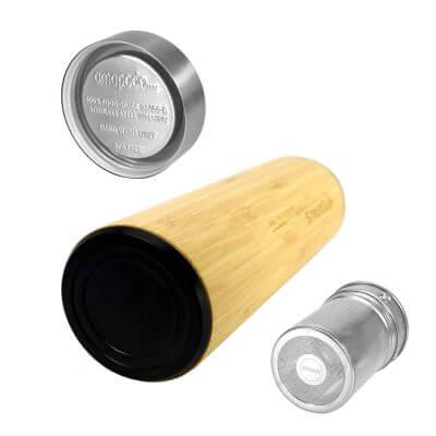 amapodo Thermobecher 500ml mit Sieb und Deckel aus Bambus und Edelstahl, bpa-frei, Rückseite