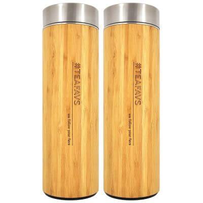 amapodo Thermobecher 2er-Set mit Sieb und Deckel aus Bambus und Edelstahl, bpa-frei