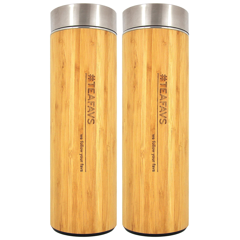 Thermobecher 2er-Pack Angebot Glas doppelwandig mit Edelstahl Tee Sieb