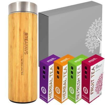 amapodo Thermobecher Teegeschenk Set mit edler Geschenk-Verpackung