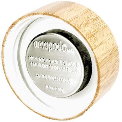 amapodo Bambus Ersatz-Deckel für Teeflaschen aus Glas, einzeln, Rückseite