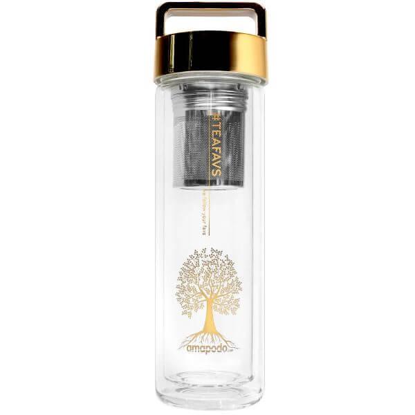 amapodo Teeflasche mit Sieb und Deckel, Henkel Farbe gold