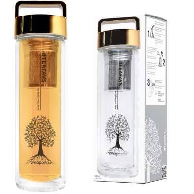 amapodo Teeflasche mit Sieb und Deckel, Henkel Farbe gold, Verpackung