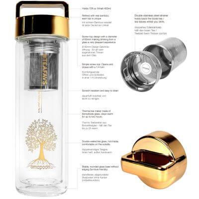 amapodo Teeflasche mit Sieb und Deckel, Henkel Farbe gold, Beschreibung