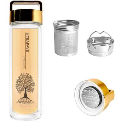 amapodo Teeflasche mit Sieb und Deckel, Henkel Farbe gold, Teefilter, Teesieb