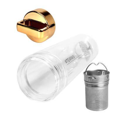 amapodo Teeflasche mit Sieb und Deckel, Henkel Farbe gold, Vorderseite
