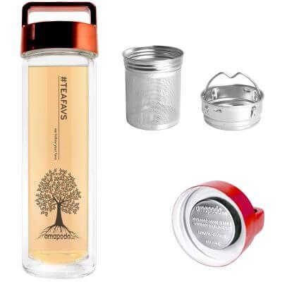 amapodo Teeflasche mit Sieb und Deckel, Henkel Farbe rot, Teefilter, Teesieb