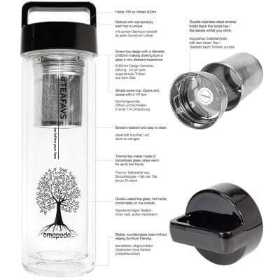 amapodo Teeflasche mit Sieb und Deckel, Henkel Farbe schwarz, Beschreibung