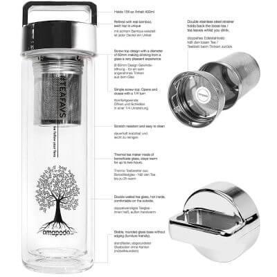 amapodo Teeflasche mit Sieb und Deckel, Henkel Farbe silber, Beschreibung