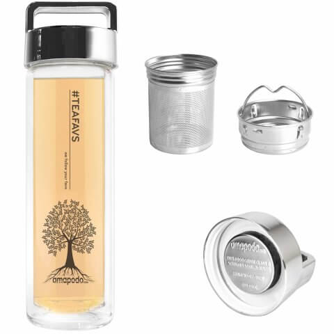 amapodo Teeflasche mit Sieb und Deckel, Henkel Farbe silber, Teefilter, Teesieb, bpa-frei