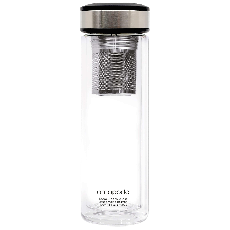 Teeflasche für losen Tee - Edelstahl Teesieb und Deckel - Design Glas doppelwandig mit Sieb