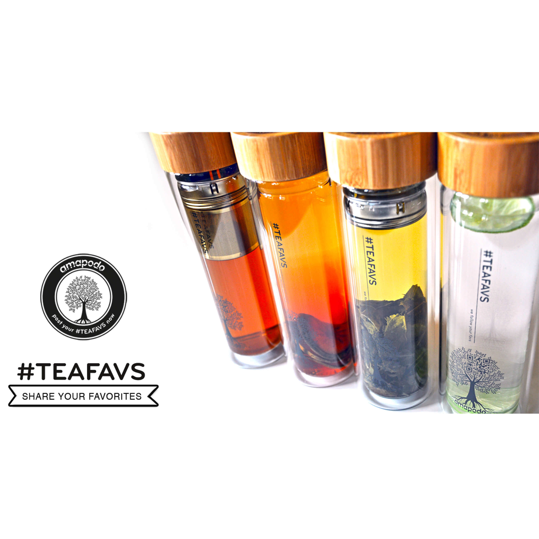 amapodo Teekanne Teeflasche Glas doppelwandig Teesieb /& Deckel Sieb losen Tee