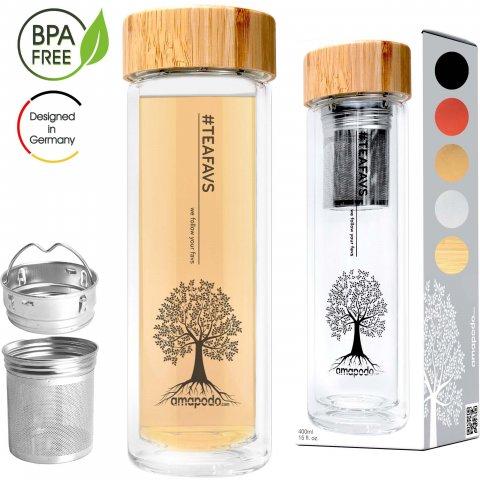 Teeflasche mit Sieb und Bambus Deckel 400ml