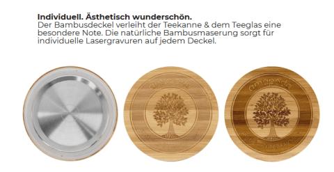 amapodo Bambusdeckel für Teekanne und Teeglas