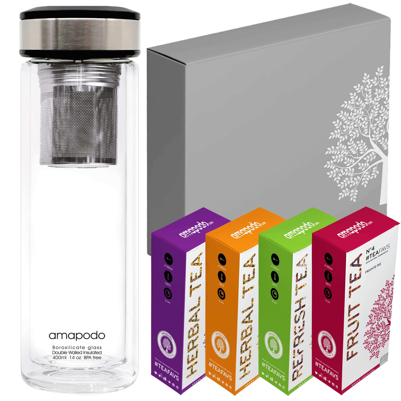 Teekanne 400ml, Glas Trinkflasche mit Filter, Deckel schwarz, Geburtstag Tee Geschenk Angebot für Frauen Männer