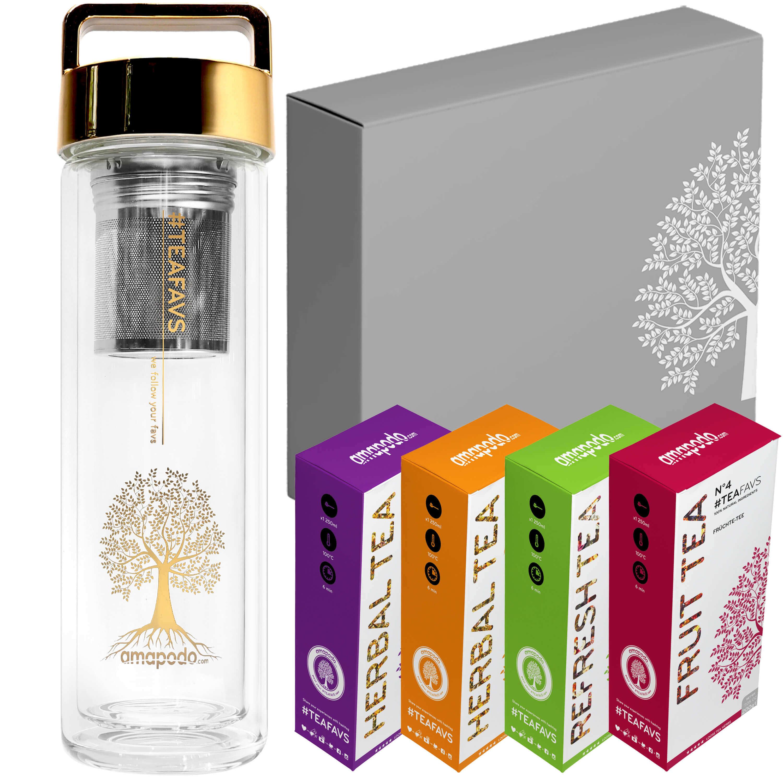 Thermo Bottle Gold 400ml Deluxe Tea Set, Glasfasche mit Schraubverschluss, Geburtstag Tee Geschenk Angebot für Frauen Männer