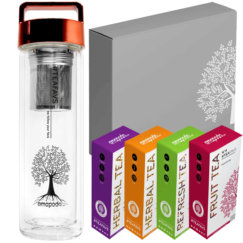 Body-Fit Tea 2go Set, Thermo Bottle 400ml, Glas Flasche mit Teesieb, Deckel rot, Geburtstag Tee Geschenk Set Angebot für Frauen Männer