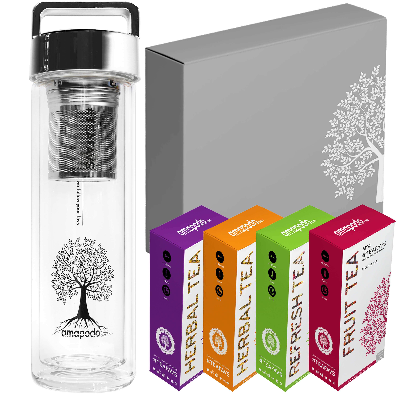 Daily Fitness Tea Set, Thermo Bottle 400ml, Trinkflasche Glas mit Sieb, Deckel silber, Geburtstag Tee Geschenk Set Angebot für Frauen Männer