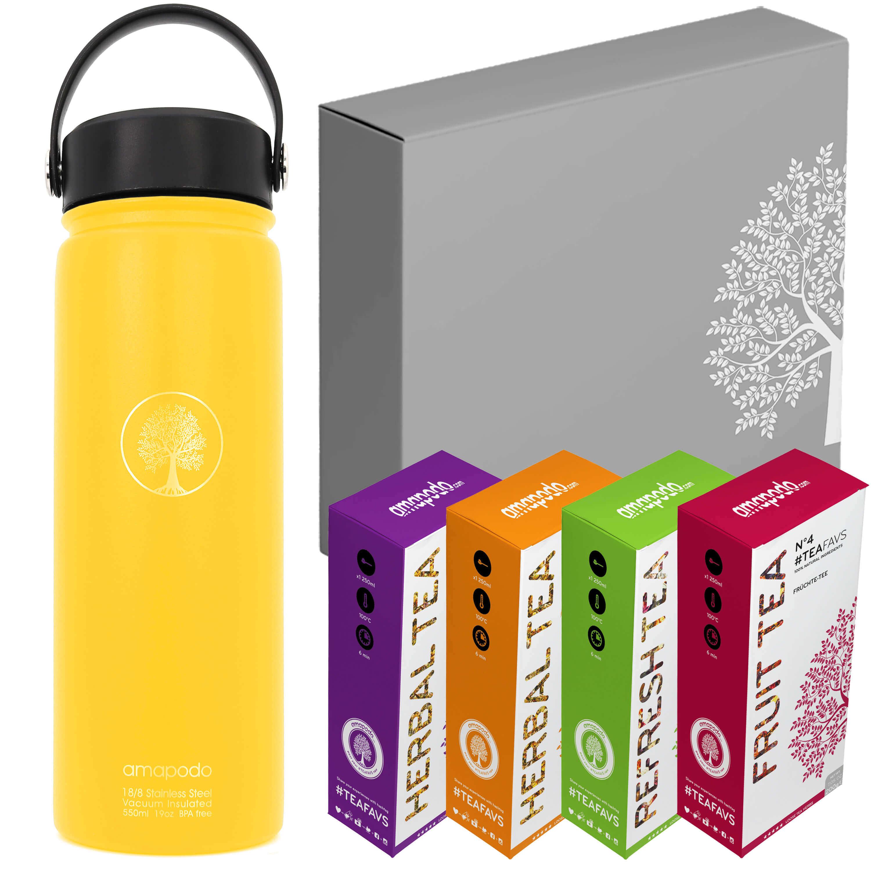 amapodo Trinkflasche 600ml, Gesund trinken Tee Geschenk Set, Water Bottle auslaufsicher, Sportflasche BPA-Frei, Outdoor, Männer, Frauen, Kinder