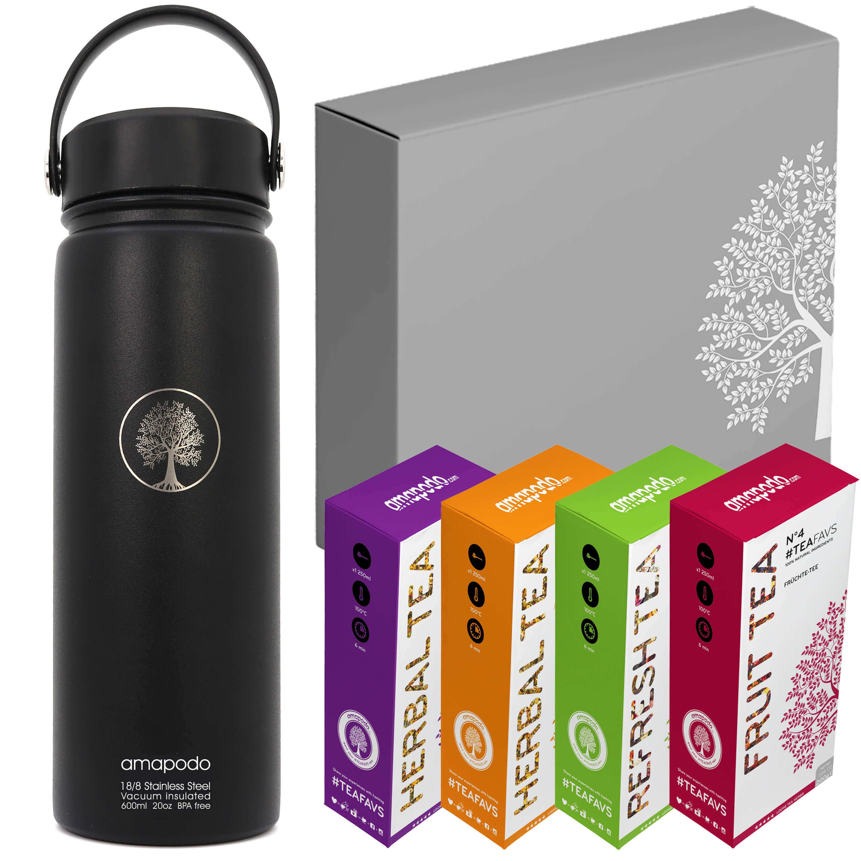 amapodo Edelstahl Sport-Trinkflasche 600ml, Gesund trinken Tee Geschenk Set, Flasche auslaufsicher, Sportflasche BPA-Frei, Fitness, Fußball, Laufen