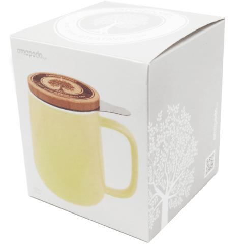 Geschenk Verpackung Teetasse mit Deckel gelb