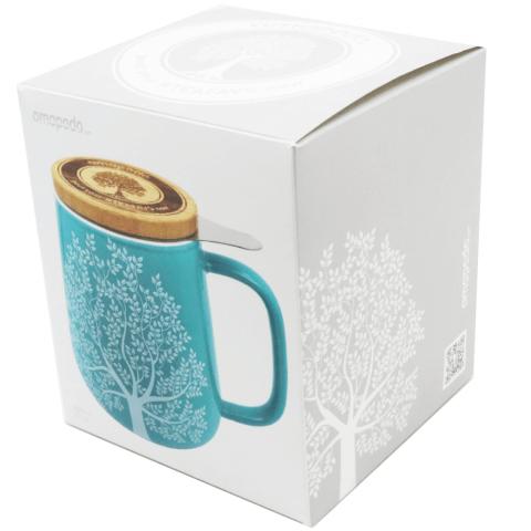 Geschenk Verpackung Teetasse mit Deckel tuerkis