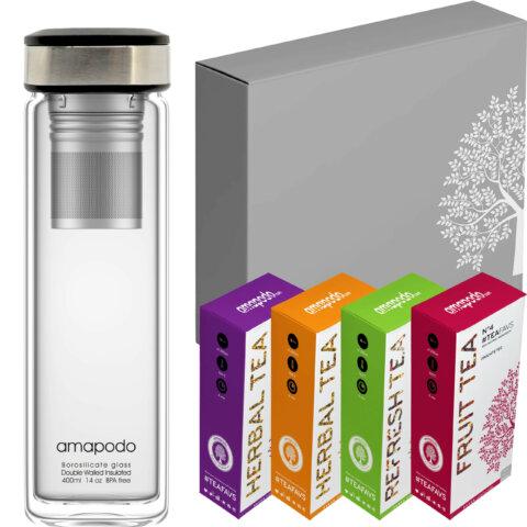 Tee-Geschenke für Frauen Männer Glastrinkflasche Schwarz