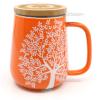 Teetasse mit Deckel und Sieb orange