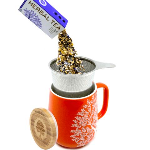 Teetasse mit Deckel und Sieb orange Tee lose