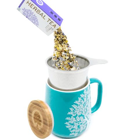Teetasse mit Deckel und Sieb tuerkis Tee lose